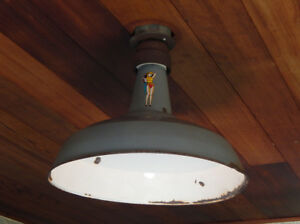 Worn And Distressed Vintage Industrial Enameled Barn Light Ceiling Fixture