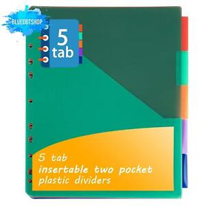 Insertable Plastic Dividers binders Dividers With Two Pockets Tabs 5 tab Set