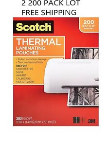 Scotch Thermal Laminating Pouches 8 9 X 11 4 inches 3 Mil Thick 400 2 200 Pack