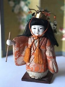 Antique Japanese Gofun Doll 7 1 2 Crown W Phoenix Bird Beads Charms