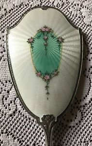 Vintage Sterling Silver Guilloche Hand Mirror 1920 S 1930 S