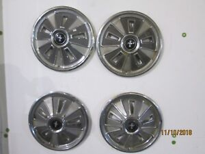 Original Vintage Classic 1966 Ford Mustang Wheel Covers Hubcaps With Centers