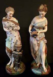 Antique French Jean Gille Pair Of Bisque Figurines Of Goddesses Rare
