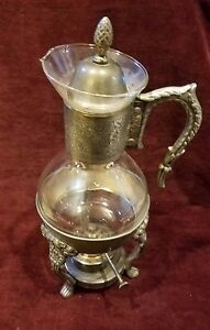 Vintage Silverplate And Glass Coffee Carafe And Warmer Ornate
