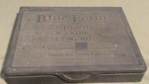 Vintage Blue Point Snap On Supreme Screw Extractor Set No 1020 Tools Case Metal
