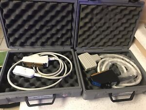 Acuson V4 And L582 Ultrasound Transducer Lot Of 2 With Cases