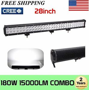 28 inch 180w Led Work Light Bar Combo Offroad Driving 4wd Truck Boat 30 32 Atv