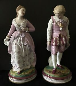 Antique French Vion Et Baury Pair Of Bisque Figurines Of Lovers