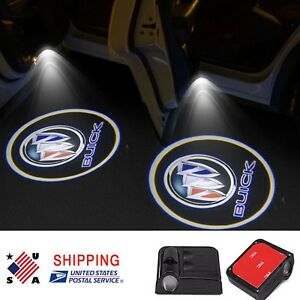 2x Wireless Led Door Step Courtesy Light Laser Shadow Logo Projector For Buick