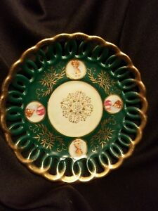 Royal Sealy China Cameo Portrait Gold And Green Porcelain Vtg Saucer