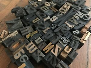 Lot 90 Vintage Letterpress Letters Mixed Size Font Wood Lead Metal Printing Type
