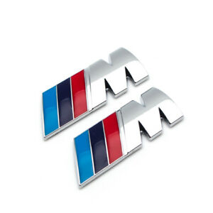 2x Silver Chrome Metal M Power Side Wing Fender Badge 3d Emblem For M3 M5 M6