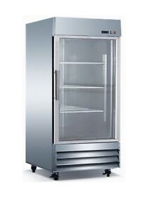 Triplex Stainless Steel 29 inch One Glass Door Refrigerator energy Star Rated