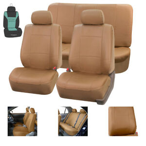 Faux Leather Car Seat Covers Set Solid Tan With Free Air Freshener