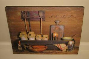 Kitchen Pantry Shelf Canvas Picture Primitive French Country Farmhouse Decor New