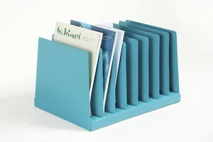 Retro Office Mail Organizer Magazine Rack Refinished In Turquoise Free Ship