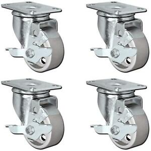 Casterhq set Of 4 All Steel 3 Swivel Plate Caster Wheels With Brakes