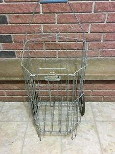 Vintage Wire Flea Market Grocery Laundry Shopping Pull Cart Basket Collapsing