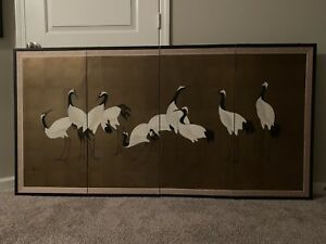 Vintage Japanese Hand Painted Folding 4 Panel Screen Signed Painting