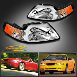 Chrome Housing Headlights For 1999 2004 Ford Mustang Pair Replacement Left Right