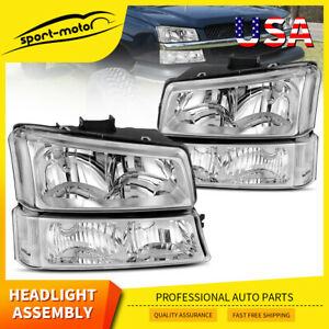 For 03 06 Chevy Silverado Chrome Headlights Headlamps Signal Lights Left Right