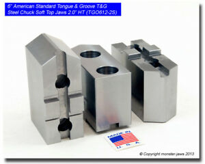 6 American Standard Tongue Groove T g Steel Chuck Soft Top Jaws 2 0 Ht
