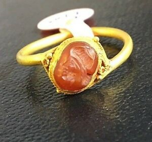 Ancient Carnelian King Face Intaglio Signet Engraved Stone Solid 22k Gold Ring