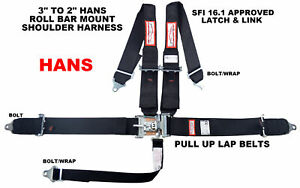 Racing Harness Seat Belt Hans 5 Point Black Sfi 16 1 Latch Racerdirect Pull Up