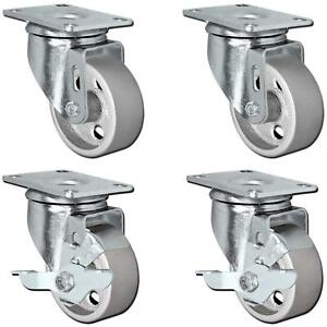 Casterhq 3 Set Of 4 All Steel Swivel Plate Caster Wheels With Brakes Locking