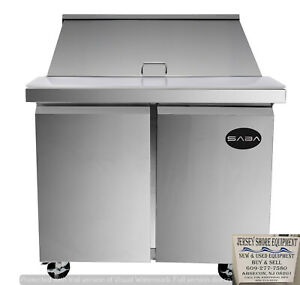 Saba 48 Commercial Sandwich salad Prep Table Stainless Steel Food Prep W Pans