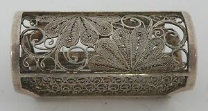 Early 1900 S Japanese Export 950 Sterling Silver Filigree Vinaigrette Pin Brooch