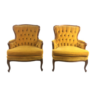 Pair Vtg Antique French Provincial Tufted Upholstered Mustard Yellow Arm Chairs