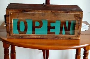 Old Vintage Wood Box New Lighted Handmade Open Sign 18 X 7 X 7