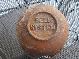 Antique Cast Iron Metal BELL SYSTEM Telephone Company Lead Melting Pot