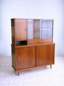 Mid Century Modern Walnut Minimalist Atomic Room Divider China Hutch Cabinet