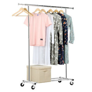 Adjustable Heavy Duty Clothing Rolling Garment Rack Hanger Portable Rail Rack