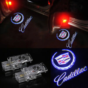 2x For Cadillac Ghost Led Logo Door Step Courtesy Shadow Laser Light Cts Srx Ats