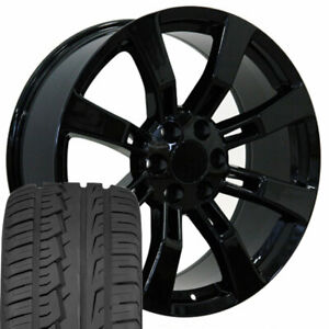 22 Rims Tires Fit Cadillac Escalade Tahoe Yukon Black Wheels Imove 5409