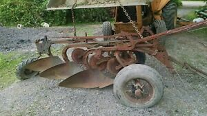 John Deere 3 Bottom Antique Tractor Plow No Reserve Farmall Allis Drag Trailer