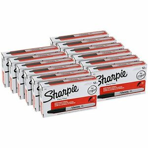 Sharpie Fine Point Permanent Markers Black 288 Pack 30001 New