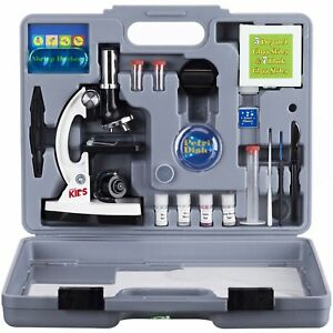 Amscope kids 120x To 1200x Six Power Metal Arm Starter Biological Microscope Kit