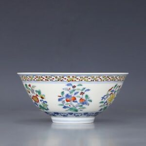 China Antique Porcelain Ming Chenghua Blue White Doucai Painting Flower Bowl