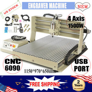Usb Port 4 Axis 1500w 6090 Cnc Router Engraver Dril Mill Machine Artwork Cutter