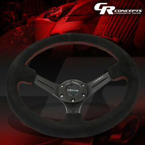 Nrg Reinforced 350mm 3 Deep Red Stitch Suede Grip Steering Wheel Replacement