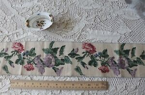 Vintage French Hand Blocked Linen Rose Petunia Border Fabric L 49 X W 4