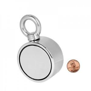 Double Sided Round Neodymium Magnet With Eyebolt Vertical Tension 500 Lbs