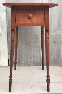Antique Conant Ball Solid Maple 1 Drawer Stand Table W Turned Splayed Legs 1910
