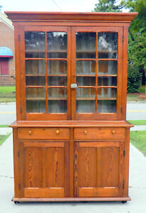 19th Century Pine Step Back Cupboard Nc Pine Original Glass Pegged