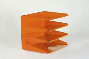 Retro Office File Organizer Refinished In Tangerine Free Shipping