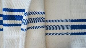 Antique European Hemp Grain Sack Gorgeous Blue Stripes Reversible